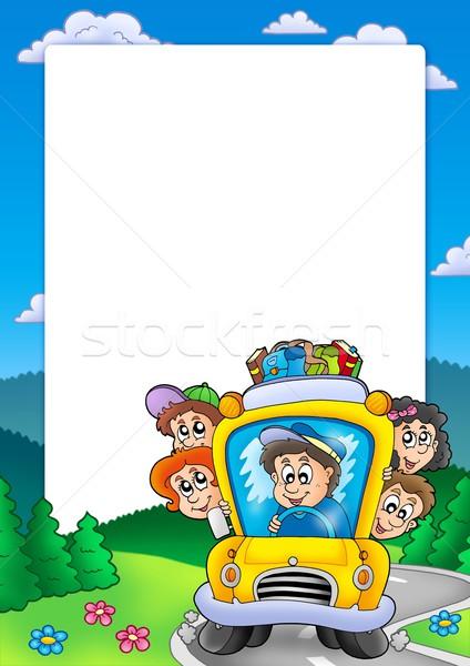 Frame schoolbus kleur illustratie school gelukkig Stockfoto © clairev