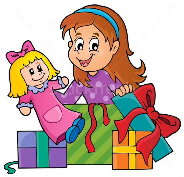 Girl with doll and gifts theme 1 Stock photo © clairev