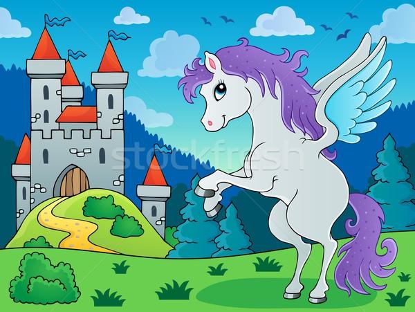 сказка изображение здании лошади искусства замок Сток-фото © clairev