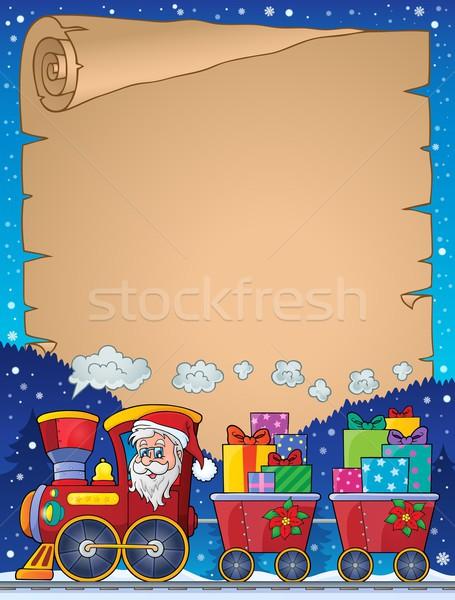 Сток-фото: пергаменте · Рождества · поезд · лице · искусства · подарок