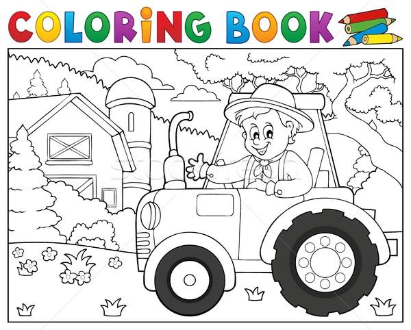 Boyama Kitabı Traktör çiftlik Bahar Kitap Bina Vektör