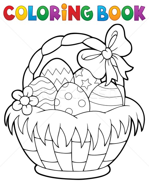 Coloring book Easter basket theme 1 Stock photo © clairev