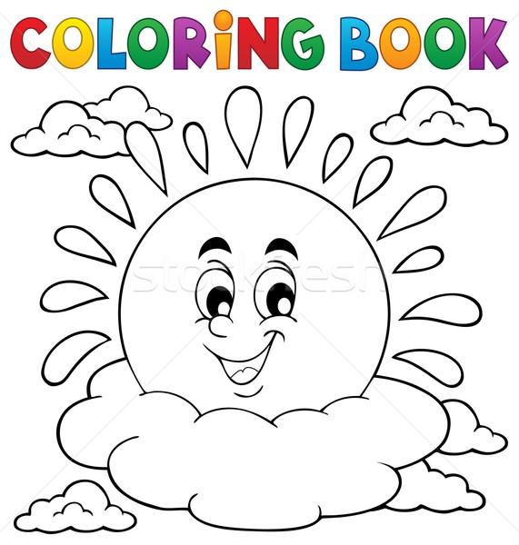 Boyama Kitabı Güneş Kitap Boya Sanat Vektör Ilüstrasyonu