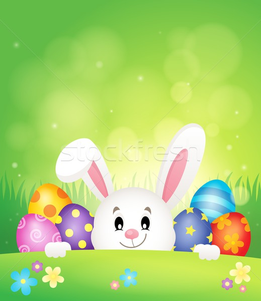 Easter eggs and lurking bunny theme 1 Stock photo © clairev