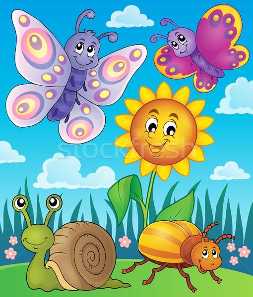 Voorjaar dieren insect afbeelding bloem glimlach Stockfoto © clairev