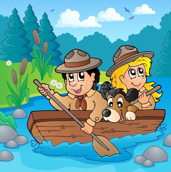 Víz folyó gyermek nyár utazás csónak Stock fotó © clairev