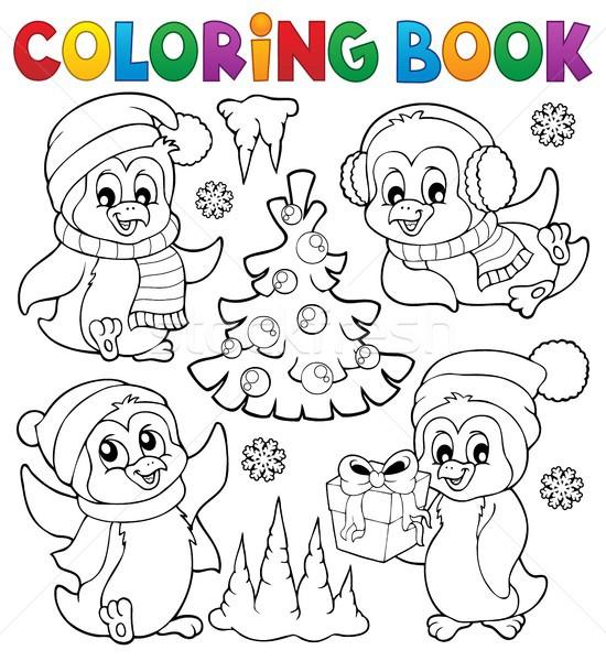 Livro para colorir natal livro feliz inverno aves Foto stock © clairev