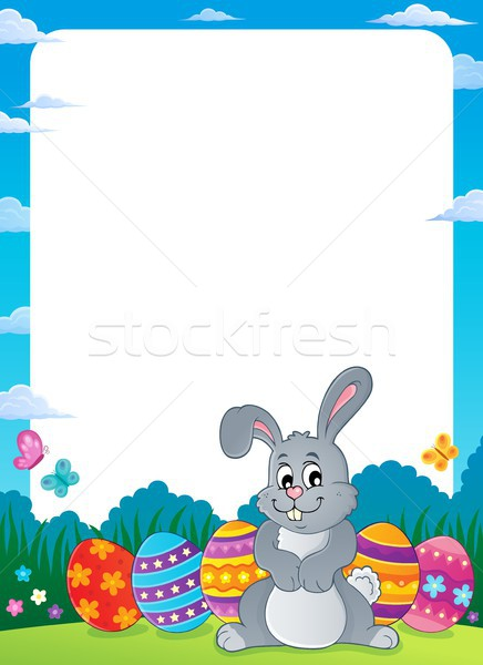 Frame with Easter rabbit thematics 1 Stock photo © clairev