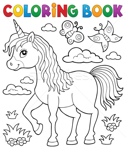 Coloring Book Happy Unicorn Topic 1 Vector Illustration