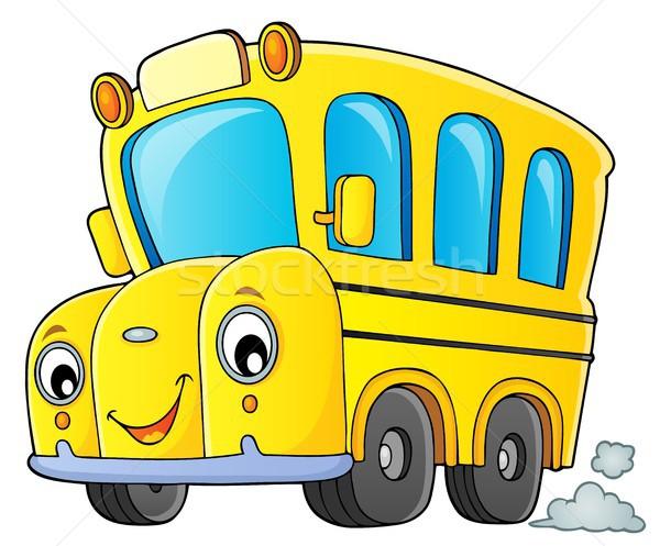 Okul otobüsü görüntü göz yüz mutlu eğitim Stok fotoğraf © clairev