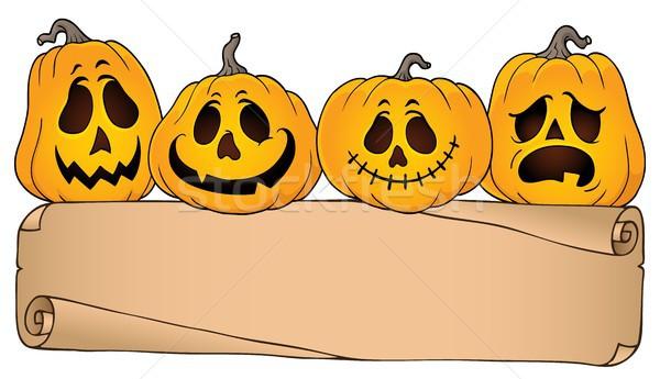 Széles pergamen halloween tökök papír arc Stock fotó © clairev