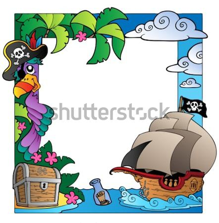 Board on pirate island Stock photo © clairev