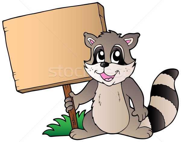 Cartoon racoon holding wooden board Stock photo © clairev