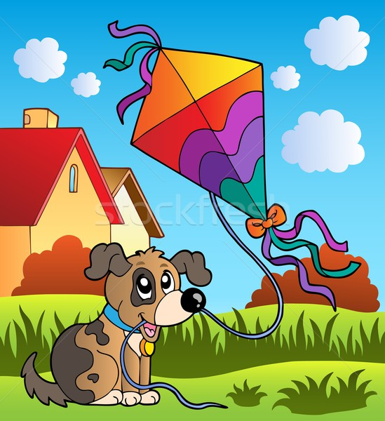 Autumn scene with dog and kite Stock photo © clairev
