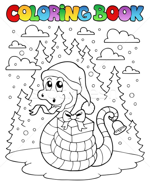 Coloring book Christmas snake 1 Stock photo © clairev
