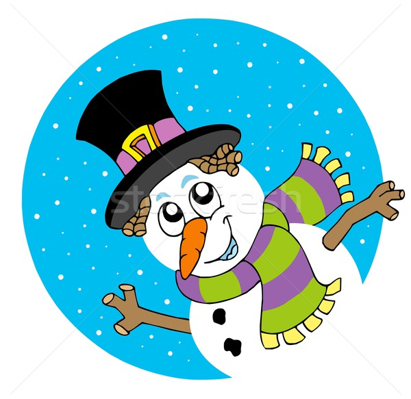 Lurking cartoon snowman Stock photo © clairev