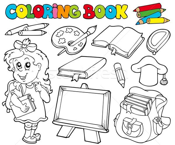 Boyama Kitabi Okul Cocuklar Mutlu Cocuk Kalem Vektor