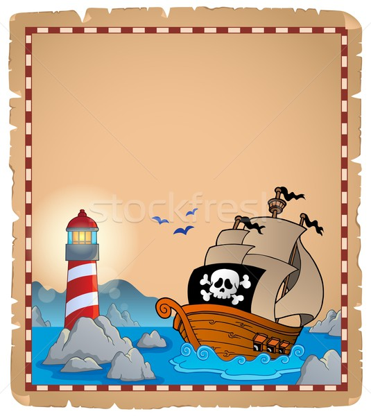 海賊 羊皮紙 紙 建物 海 岩 ストックフォト © clairev