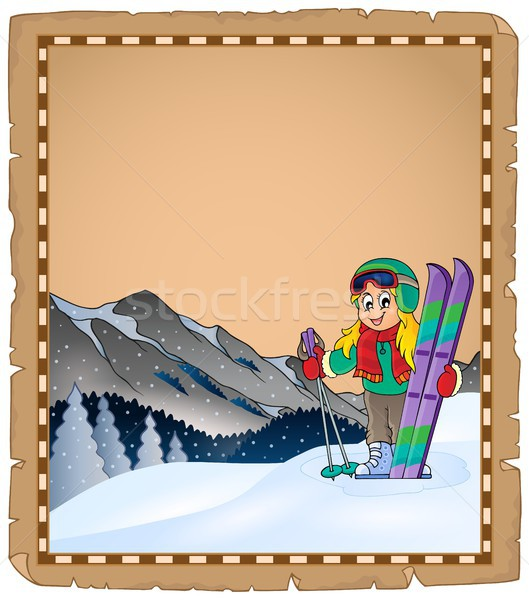 Parchment with winter sport theme 1 Stock photo © clairev