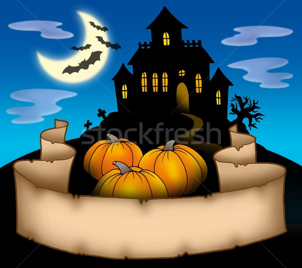 Haunted house with banner Stock photo © clairev