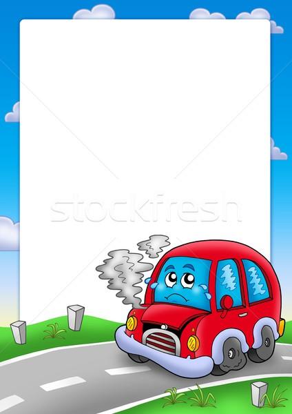 Frame with broken cartoon car Stock photo © clairev