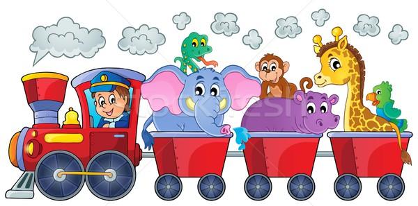 Train with happy animals Stock photo © clairev