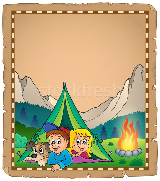 Camping pergamino papel feliz ninos nino Foto stock © clairev