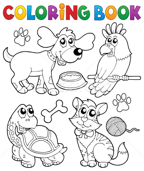 Coloring book with pets 3 Stock photo © clairev