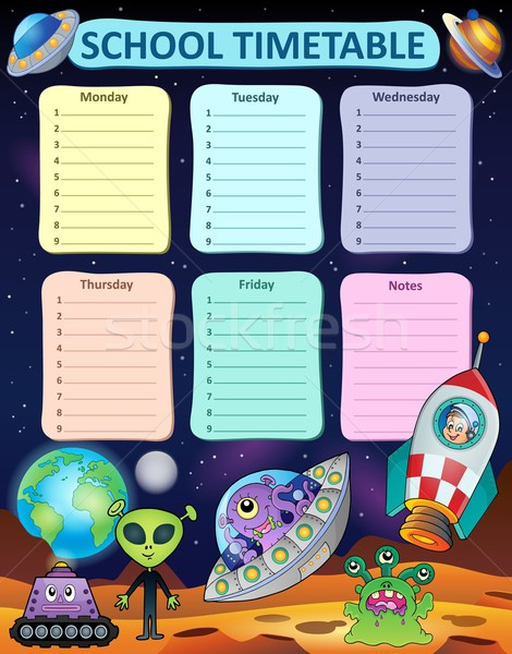 еженедельно школы расписание искусства таблице звездой Сток-фото © clairev