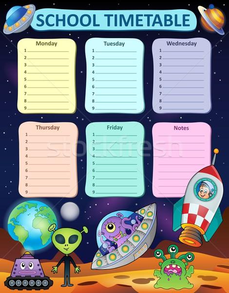 Hebdomadaire école calendrier art table star Photo stock © clairev