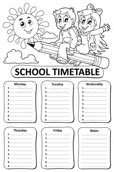 черно белые школы расписание детей счастливым солнце Сток-фото © clairev