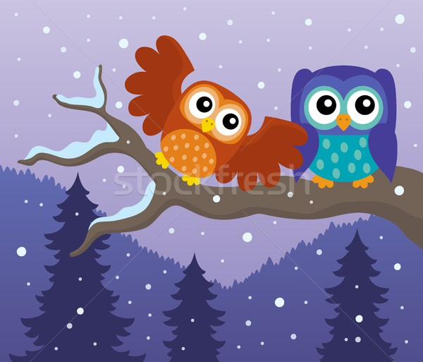 Stylized owls on branch theme image 7 Stock photo © clairev