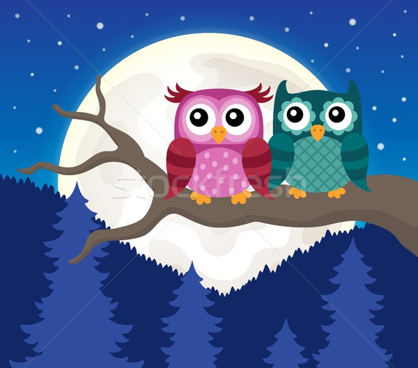 Stylized owls on branch theme image 9 Stock photo © clairev