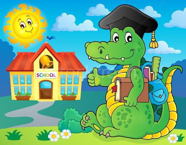 Iskola krokodil kép boldog nap művészet Stock fotó © clairev
