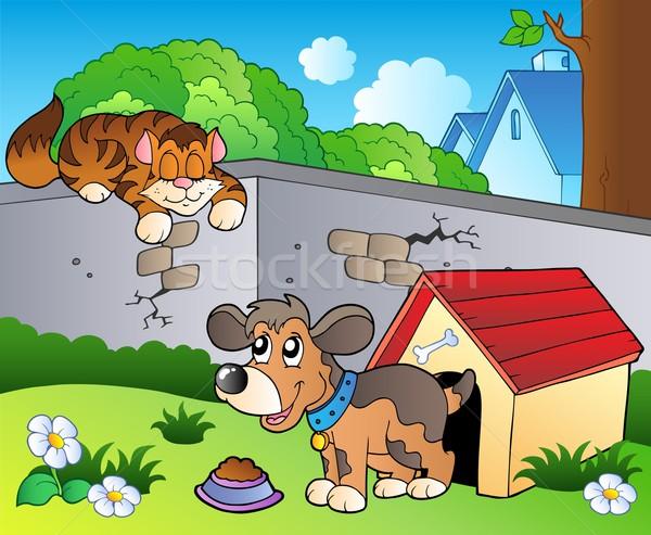 Podwórko cartoon kot psa wiosną uśmiech Zdjęcia stock © clairev