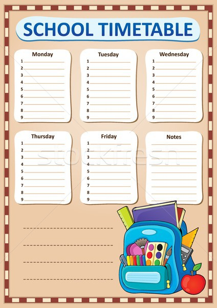 Weekly school timetable design 2 Stock photo © clairev