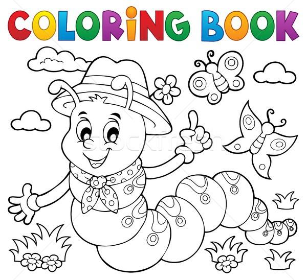 Boyama Kitabi Mutlu Tirtil Bahar Kitap Sanat Vektor