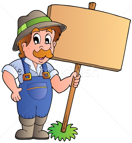 Cartoon farmer holding wooden board Stock photo © clairev