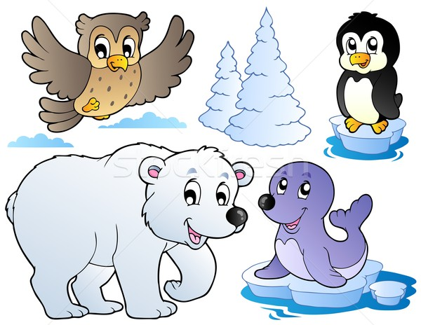 Various happy winter animals Stock photo © clairev