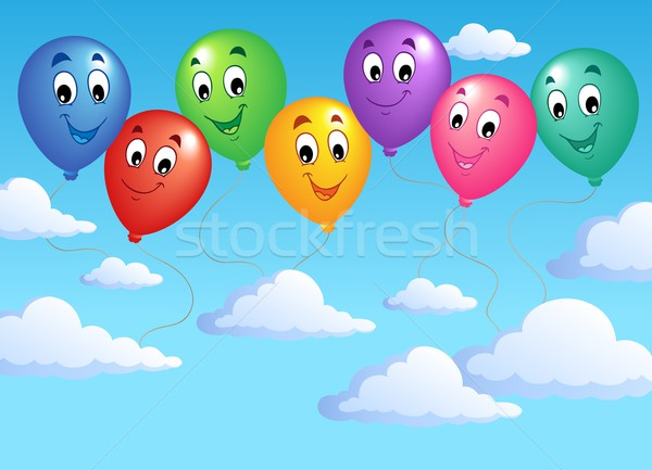 Blue sky with inflatable balloons 2 Stock photo © clairev