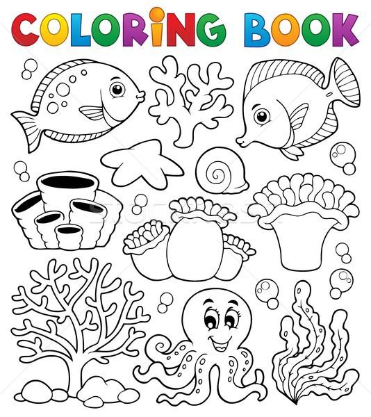 Kifestőkönyv korallzátony könyv hal természet terv Stock fotó © clairev