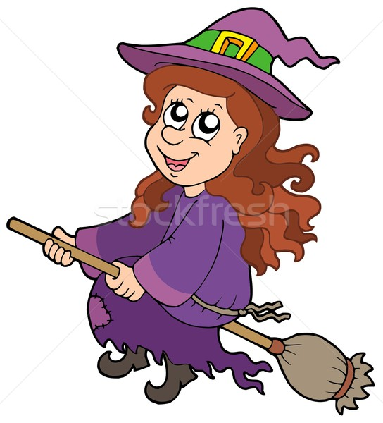 Cute witch flying on broom Stock photo © clairev