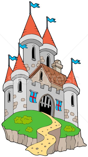Spectacular medieval castle on hill Stock photo © clairev