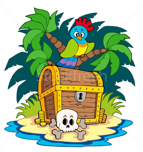 Pirate island with treasure chest Stock photo © clairev