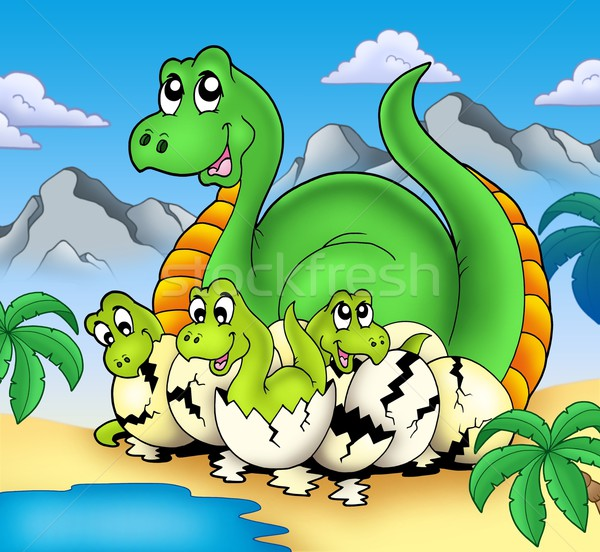 Dinosaur mom with little babies Stock photo © clairev
