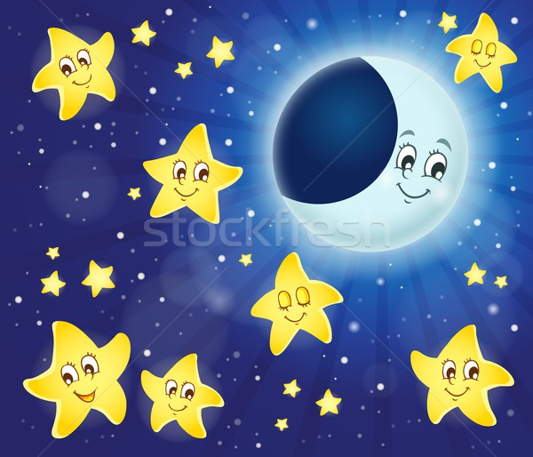 Нарисовать звёзды и луна