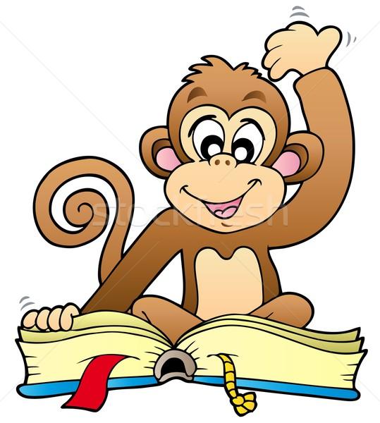 Foto stock: Bonitinho · macaco · leitura · livro · sorrir · projeto