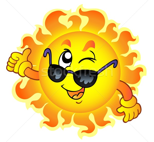 Cartoon winking Sun with sunglasses Stock photo © clairev