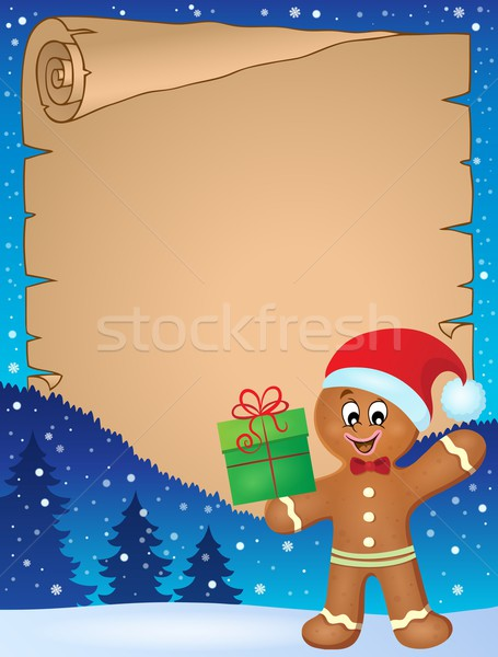 Gingerbread man theme parchment 1 Stock photo © clairev