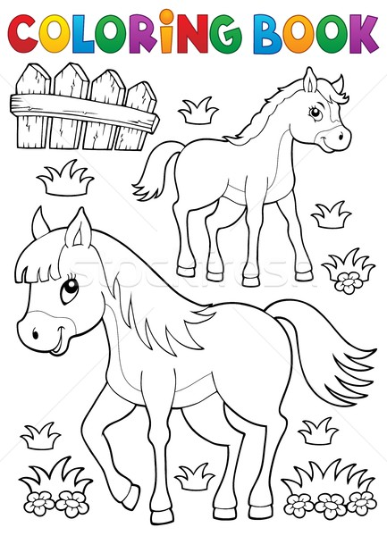 Stock photo: Coloring book horse with foal theme 1
